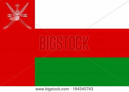 National flag of Sultanate of Oman. Patriotic symbol in official national country colors green, red and white. Symbol of Western Asia state. Vector icon illustration