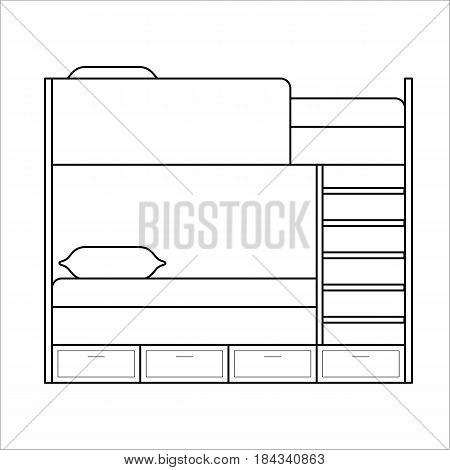 Two floor, bunk bed with two ladder, home furniture lineart design, hand drawn sketch of single object, interior concept, vector illustration on white background