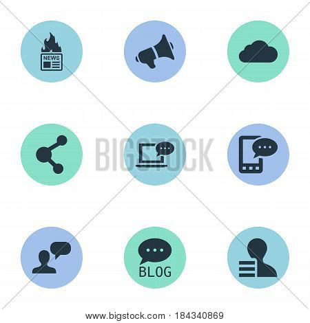 Vector Illustration Set Of Simple Newspaper Icons. Elements Loudspeaker, Gain, Gazette And Other Synonyms Man, Gazette And Earnings.