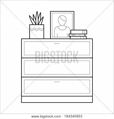 Chest of drawers with flower, photo frame and books. Flat vector icon in simple outline style. Interior element of house furniture. Black thin linear illustration isolated on white background.