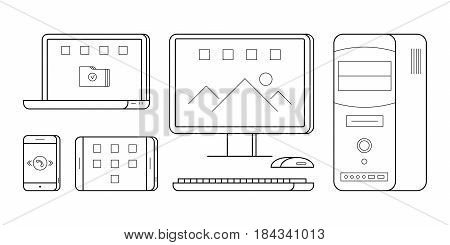 Simple icons of gadgets in thin line style. Electronic person and office devices PC, telephone, laptop and tablet. Vector outline illustrations isolated on white background. Technology symbols