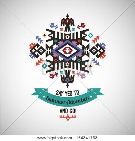 Vector decorative element on native ethnic style