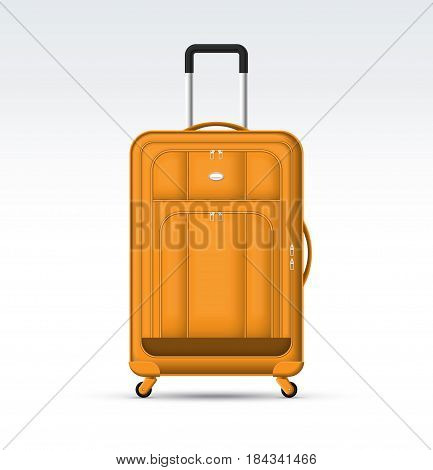Orange travel suitcase with retractable handle and wheels. Realistic detailed travel bag vector illustration