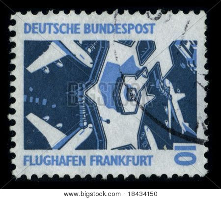 GERMANY - CIRCA 1980: A stamp printed in GERMANY shows image of the dedicated to the Frankfurt-Hahn Airport is a commercial airport located 10 km from the town of Kirchberg, circa 1980.