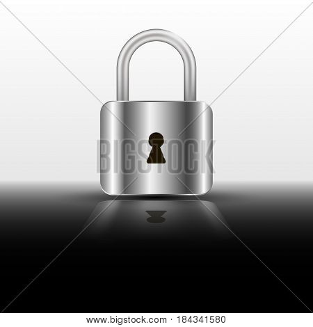 Vector realistic closed padlock. Steel lock for protection privacy illustration