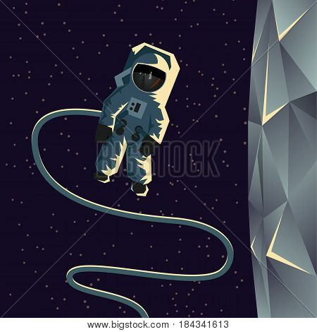 Astronaut spacewalk near the moon. Flat geometric space illustration.
