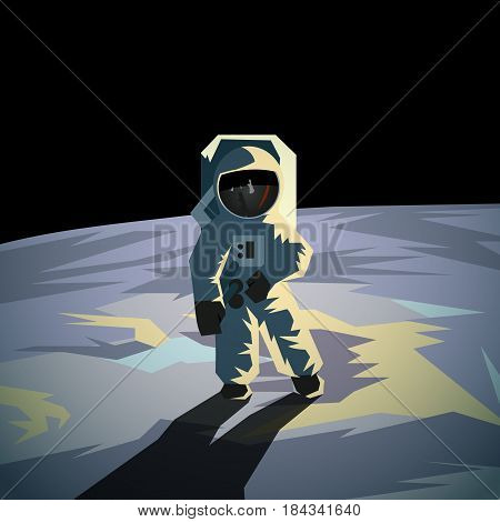 Astronaut on the moon surface. Flat geometric space illustration.