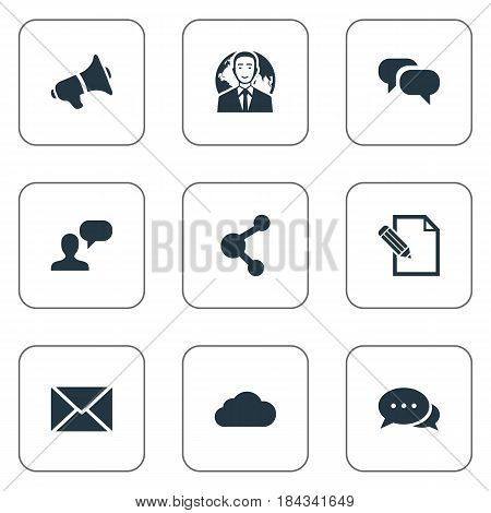 Vector Illustration Set Of Simple Blogging Icons. Elements Post, International Businessman, Share And Other Synonyms Overcast, International And Post.