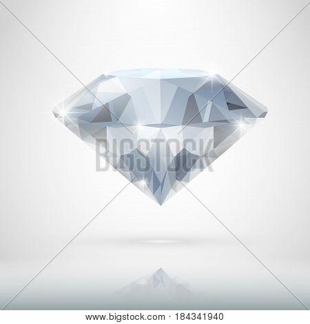 Realistic Diamond Isolated On White. Eps10 Vector