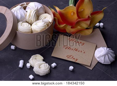 Bouquet Of Red Yellow Callas With Marshmallows Marmalade In A Wooden Round Box And Envelope With Let