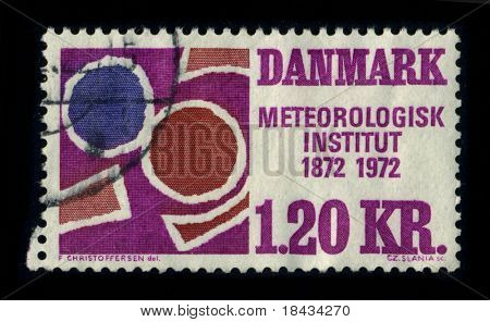 DANMARK - CIRCA 1972: A stamp printed in DANMARK shows image of the dedicated to the Meteorologisk Institut 1872-1972, circa 1972.