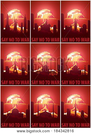 Nuclear Explosion In The City. Say No To War. Set Of The Cartoon Retro Poster. Vector Illustration.
