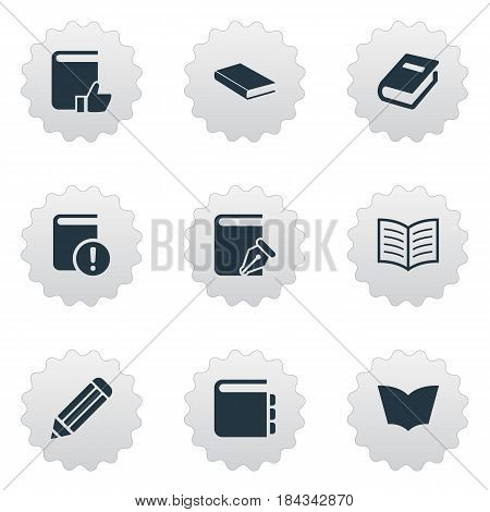 Vector Illustration Set Of Simple Books Icons. Elements Journal, Notebook, Reading And Other Synonyms Book, Reading And Favored.