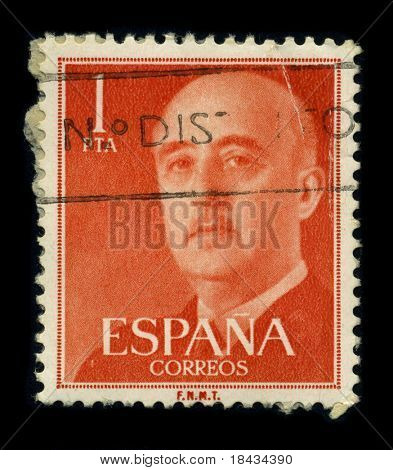 SPAIN - CIRCA 1975: A stamp portrait Francisco Paulino Hermenegildo Teodulo Franco y Bahamonde Salgado Pardo de Andrade,commonly known as Franco, was a Spanish dictator, circa 1975.