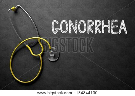Medical Concept: Gonorrhea - Text on Black Chalkboard with Yellow Stethoscope. 3D Rendering.