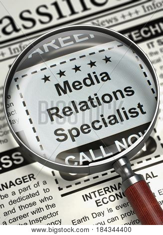 Media Relations Specialist. Newspaper with the Searching Job. Media Relations Specialist - CloseUp View Of A Classifieds Through Magnifier. Job Search Concept. Blurred Image. 3D.