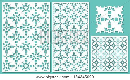 Set of decorative panels laser cutting. Universal mosaic geometric pattern. The ratio of 2: 3, 1: 2, 1: 1, seamless. Vector illustration.