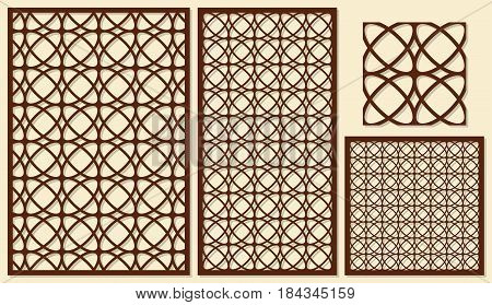 Set of decorative panels laser cutting. Classical linear geometric pattern. The ratio of 2: 3, 1: 2, 1: 1, seamless. Vector illustration.