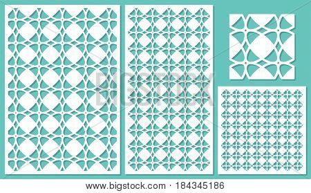 Set of decorative panels laser cutting. Universal linear geometric pattern. The ratio of 2: 3, 1: 2, 1: 1, seamless. Vector illustration.