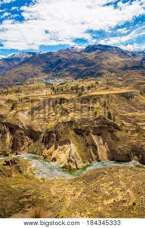 Colca Canyon PeruSouth America. Incas to build Farming terraces with Pond and Cliff. One of deepest canyons in world
