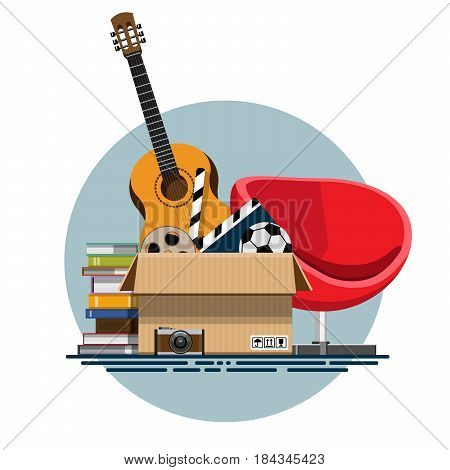 Illustration of a cardboard box with old things in a flat style. Box with old stuff vector. Guitar, armchair, photo albums, photo camera, a drum with a film, a football. Vector illustration Eps10 file