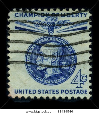 USA-CIRCA 1935: A stamp image portrait Tomas Garrigue Masaryk, sometimes called Thomas Masaryk in English, was an Austro-Hungarian and Czechoslovak politician, sociologist and philosopher, circa 1935.
