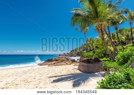 Beautiful Anse Intendance beach on Mahe island, Seychelles.