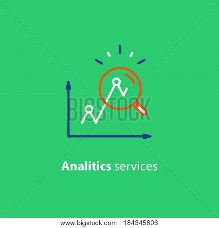 Performance data analytics, investment report, marketing study, audition services, vector icon