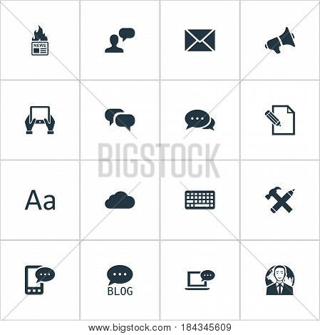 Vector Illustration Set Of Simple Blogging Icons. Elements Loudspeaker, E-Letter, Site And Other Synonyms Globe, Keyboard And Conversation.