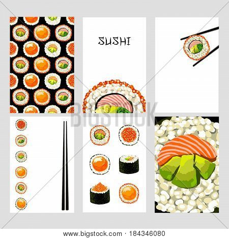 Set of Japanese food cards. Set of sushi on white background. Sushi seamless pattern, sushi card, poster, background. Template for design.