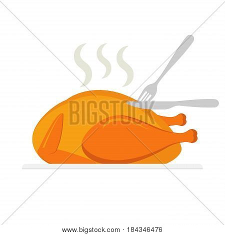 Roasted chicken being cut by knife and fork isolated on white background. Eps 10.