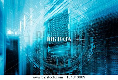 stack of hard drives store mainframe with abstract background big data