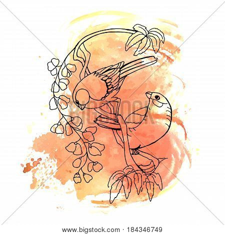A couple of Victorian style birds on a tree branch with leaves and flowers, on a faded watercolor stain. A decorative design element for a greeting card or wedding invitation. Scalable vector graphic