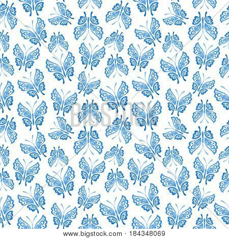 Abstract background with blue butterflies on white background. Vintage pattern. Can be used for web, print, textile, wallpapers, clothing