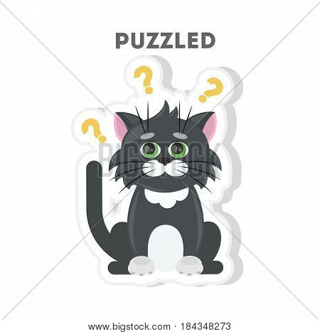 Puzzled cat sticker. Isolated cartoon sticker. Funny cat with question marks.
