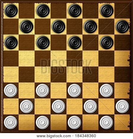 Checkers. Chess board. Checker game. Vector illustration. Eps 10.