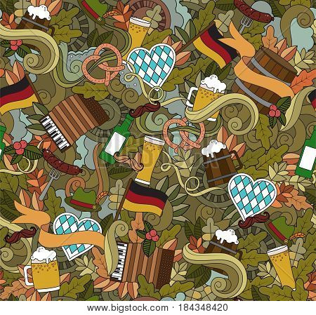Oktoberfest Cartoon vector hand-drawn Doodle seamless on the subject of beer fest autumn symbols food and drinks seamless pattern. Color background doodle poster