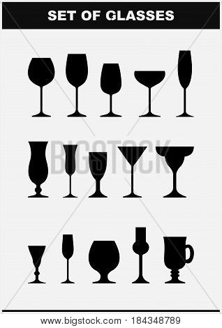 Set of drink glasses icons. Wine, cognac ,vermouth, punch, cocktail , martini glass . Alcohol glasses. Silhouette. Vector illustration