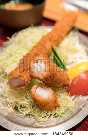 Japanese food ebi katsu deep fried shrimp set with rice