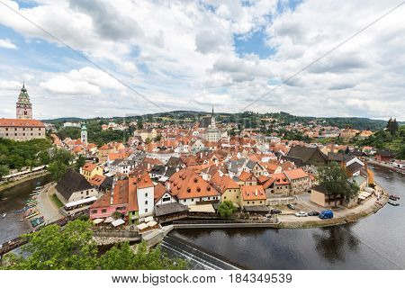 Aerial view of old Town of Cesky Krumlov, Czech Republic