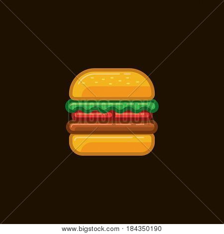 Vector icon sandwich hamburger with meat and vegetables on dark background. Illustration of food sandwich cheeseburger.
