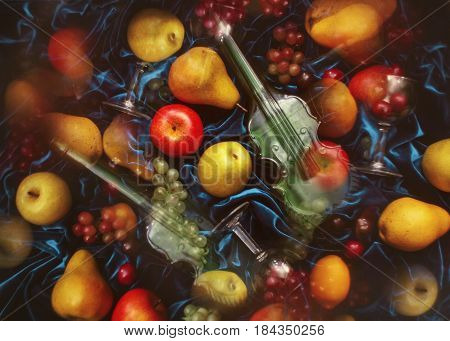 Abstract surrealistic fruit mix. summer fruit and a glass on a blue background. Texture, toning