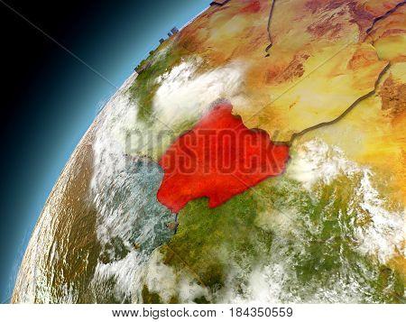 Nigeria From Orbit Of Model Earth