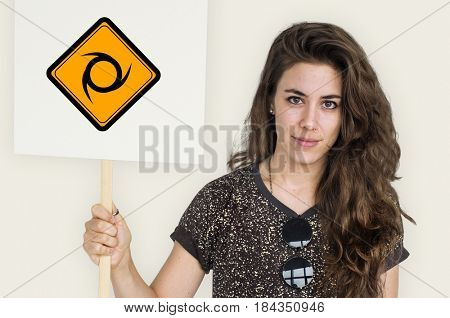 Studio Shoot Holding Banner with Saw blade Attention Sign