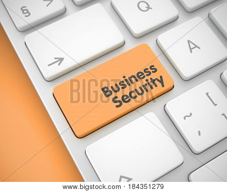 Online Service Concept: Business Security on the Laptop Keyboard Background. Business Security Written on Orange Keypad of Conceptual Keyboard. 3D Render.