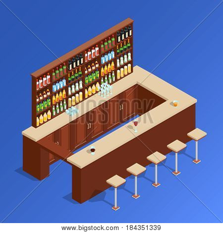 Colored bar isometric composition with empty bar counter and stand with alcohol vector illustration