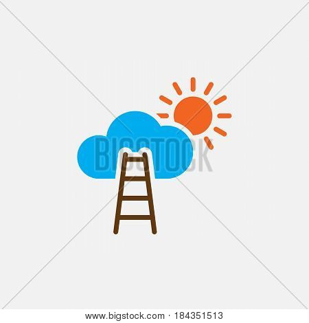 Stairway To Sky Solid Icon, Color Career Vector Illustration, Pictogram Isolated On White