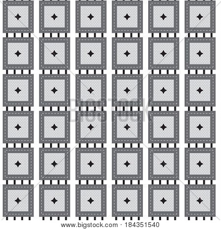 silver shade square with black star and white dot scattered inside and black stripe line outside pattern background vector illustration image