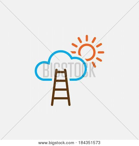 Stairway To Sky Line Icon, Color Career Outline Vector Illustration, Linear Pictogram Isolated On Wh