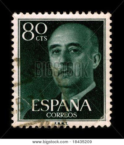 SPAIN - CIRCA 1975: A stamp printed in SPAIN shows image portrait Francisco Paulino Hermenegildo Teodulo Franco y Bahamonde Salgado Pardo de Andrade,commonly known as Franco,  circa 1975.